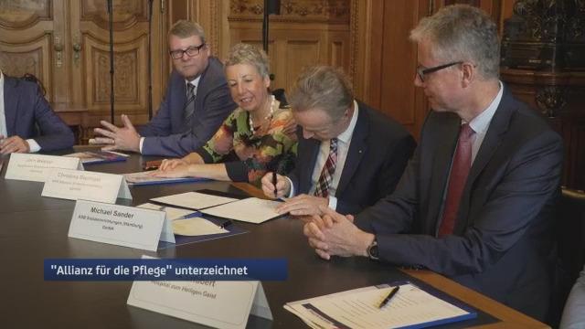 Führende Arbeitgeber für Pflegekräfte u.a. der ASB Hamburg verständigen sich auf hohe Standards für den Pflegeberuf und schließen sich zur Allianz für die Pflege zusammen. Foto: Hamburg1.